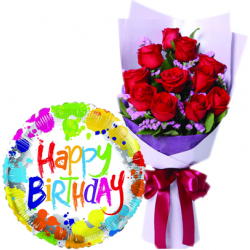 12 pcs Roses With Birthday Mylar Balloon