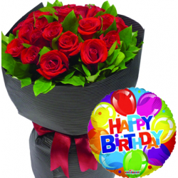 24 Red Roses With Mylar Birthday Balloon