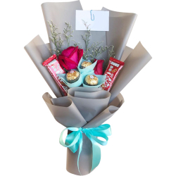 send holland roses with chocolate in bouquet to philippines