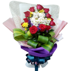send dozen of roses with 6 pcs mini bear in bouquet to philippines