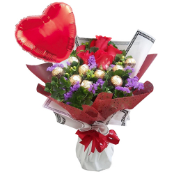 send roses with chocolate and balloon in in bouquet to philippines
