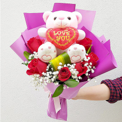 send 6 red roses with small bear in bouquet to philippines
