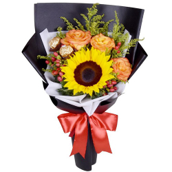 send roses with sunflower and ferrero in bouquet to philippines