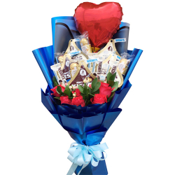 send mixed chocolate with roses and balloon to philippines
