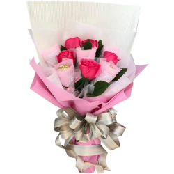 send 5 pink roses with 5 pcs. ferrero bouquet to philippines
