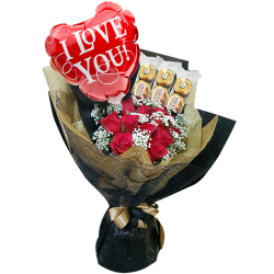 send red roses with balloon and ferrero in bouquet to philippines