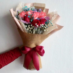 send 9 red and pink color roses bouquet to philippines