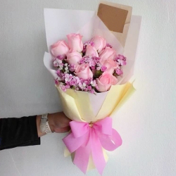 send 9 stems soft pink roses in bouquet to philippines