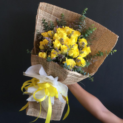 send 24 yellow color roses in bouquet to philippines