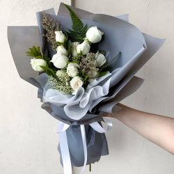 send bunch of 12 stems white roses to philippines