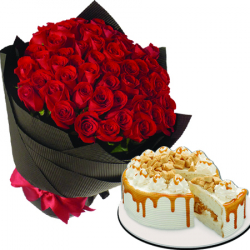 36 roses with coffee crunch by red ribbon to philippines