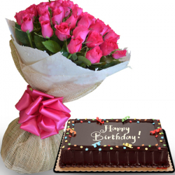 24 pink roses with chocolate dedication cake by red ribbon