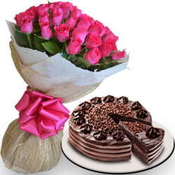 24 pink roses with ultimate chocolate cake by red ribbon to philippines