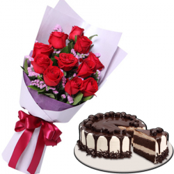 12 Red Roses With  Tiramisu Meltdown Cake By Red Ribbon