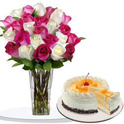 24 pink and white roses with peach mango cake to philippines