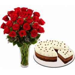24 roses with chocolate mousse by red ribbon to philippines