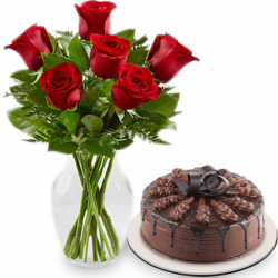 6 Flower In Vase With Chocolate Indulgence Cake By Red Ribbon