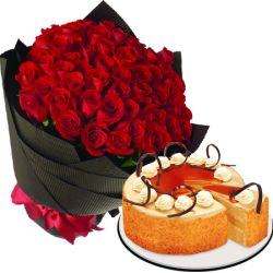 36 red roses with coffee dulce de leche cake by red ribbon to philippines
