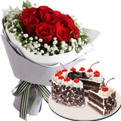 12 red roses with black forest cake by red ribbon to philippines