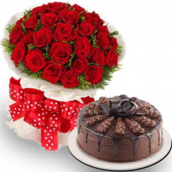 send 36 roses with chocolate cake by red ribbon to philippines