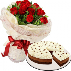 12 roses with chocolate mousse cake by red ribbon to philippines