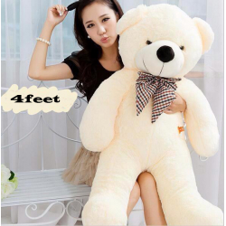 4 Feet White Color Life Size Teddy Bear :