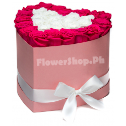 buy 24 red and white heart shaped roses in philippines