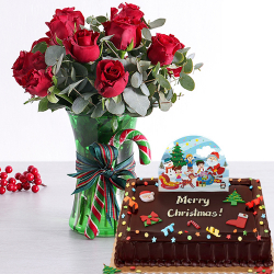 send holiday 12 red roses with chocolate cake to philippines