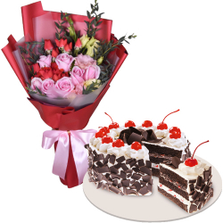 send xmas mixed flower with black forest cake to philippines