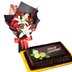 send mixed flower bouquet with holiday cake to philippines