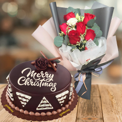 send xmas mixed roses with chocolate cake to philippines