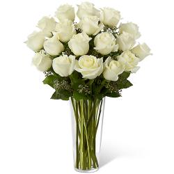 send 18 pcs. white ecuadorian roses in vase to philippines