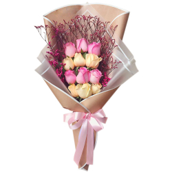 send 12 pink and peach ecuadorian roses bouquet to philippines