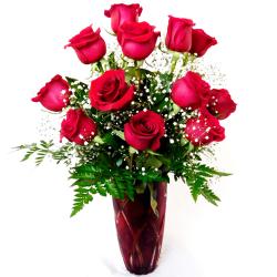 send 12 pcs red ecuadorian roses in vase to philippines