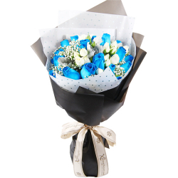 send 24 blue and white ecuadorian roses bouquet to philippines