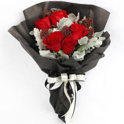 delivery 5 red ecuadorian roses bouquet to philippines
