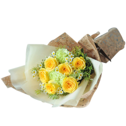 send 6 pcs. yellow ecuadorian roses bouquet to philippines