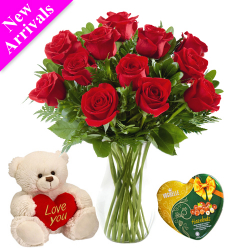 12 Red Roses In Vase With Vochelle Hazelnuts Chocolate & Small Bear