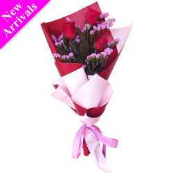 send 3 stems red color roses in bouquet to philippines