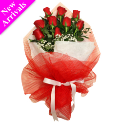 9 Stems Valentines Red Roses Bouquet