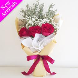 Simple Valentine's 3 Pcs. Roses Bouquet