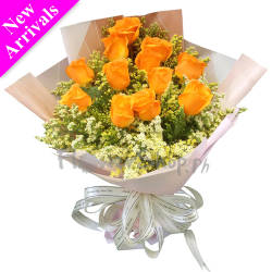 send one dozen yellow roses in bouquet to philippines