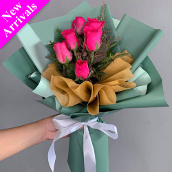 send half dozen hot pink roses bouquet to philippines