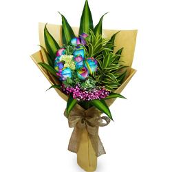 send 10 pcs ecuadorian rainbow roses in bouquet to philippines