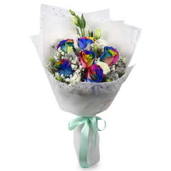 send 6 rainbow roses and 6 white roses bouquet to philippines