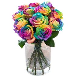 send dozen of rainbow roses in vase to philippines