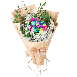 send 7 beautiful rainbow roses bouquet to philippines
