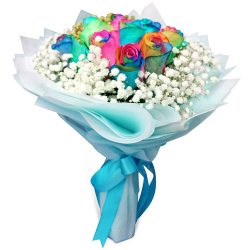 send 9 stems rainbow roses in a bouquet to philippines