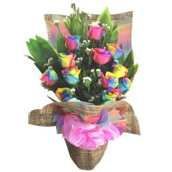 send 1 dozen rainbow roses in bouquet to philippines