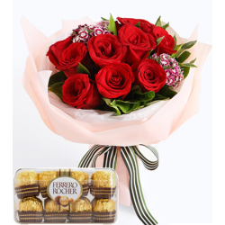 red rose bouquet with ferrero chocolate box to manila